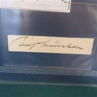 Autograph of Pres. Benjamin Harrison and VP Colfax