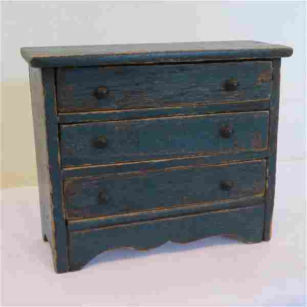 Pine miniature 3 drawer chest in old blue paint