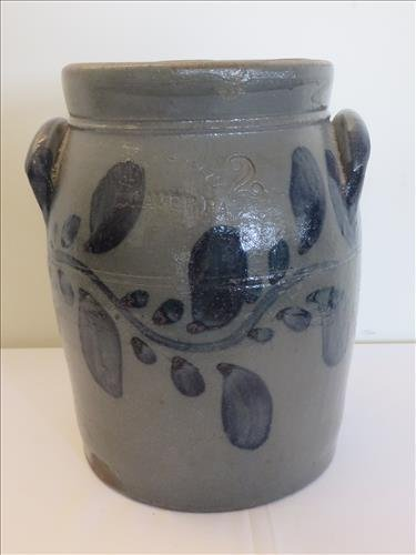 Stoneware blue decorated 2 gal. jar