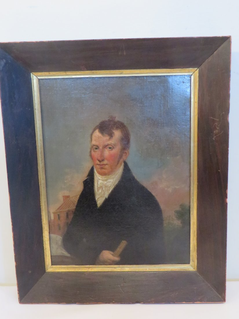 Ca. 1830 oil on canvas portrait of gentleman architect