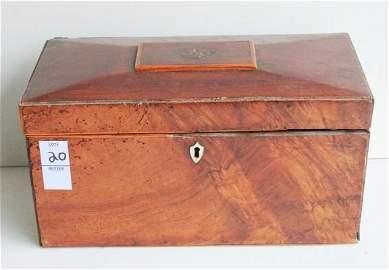 20. 19th C antique walnut tea caddy.