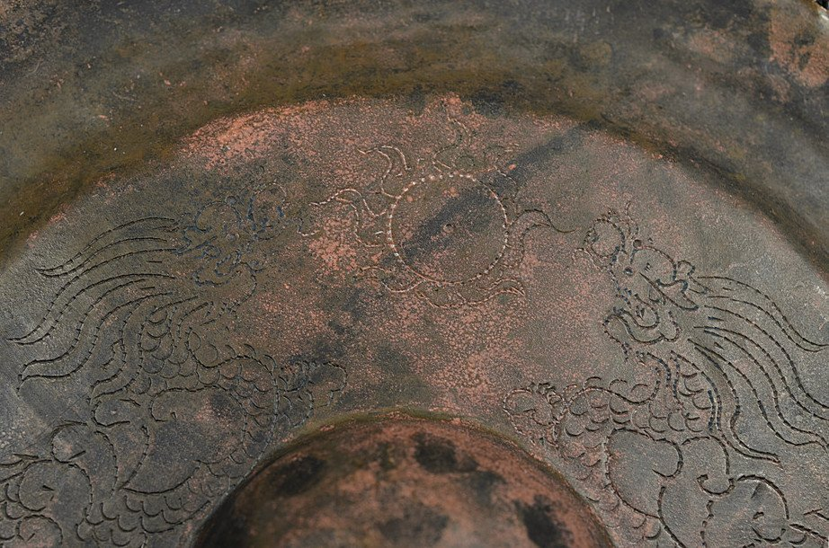 Antique Chinese Copper Gong Engraved with Dragons - 7