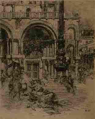 Prints Frank Duveneck (1848-1919), PIAZZA