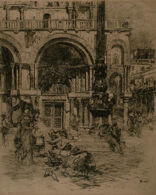 1005: Prints Frank Duveneck (1848-1919), PIAZZA