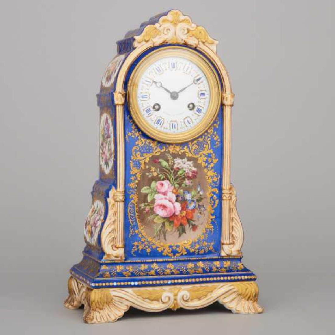 French Porcelain Cased Mantel Clock, 19th century