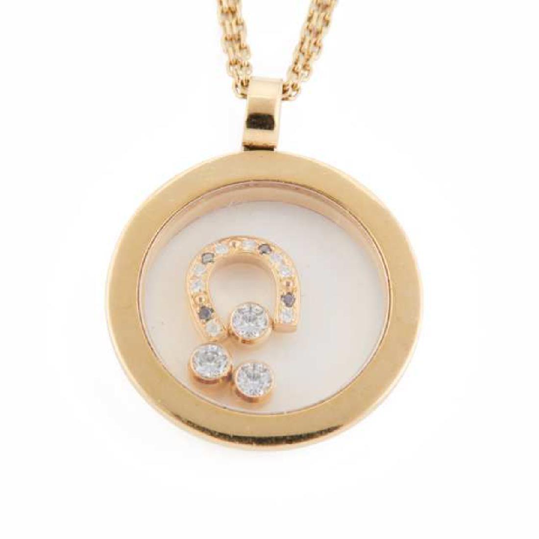 Chopard 18k Yellow Gold Circular Happy Diamond Pendant