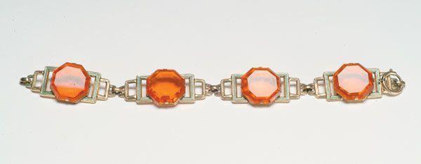 7d: Fashion Art Deco Enamel Crystal Brac