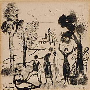 American Earl Horter FIGURE IN A PARKLAND