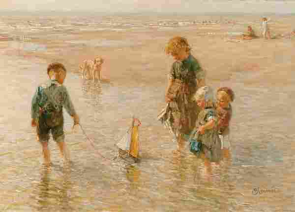 Dutch B.J. Blommers CHILDREN ON BEACH