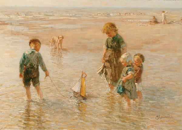 1232: Dutch B.J. Blommers CHILDREN ON BEACH