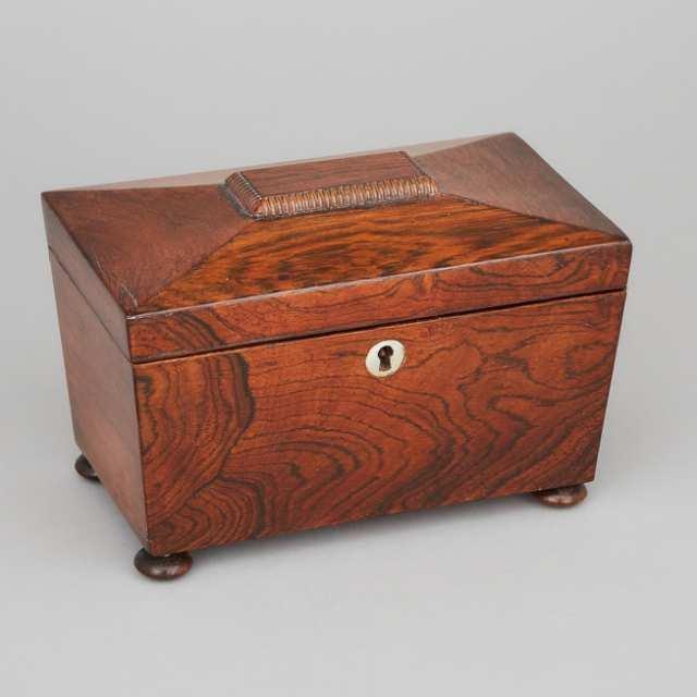 Regency Rosewood Sarcophagus Form Tea Caddy, c.1830