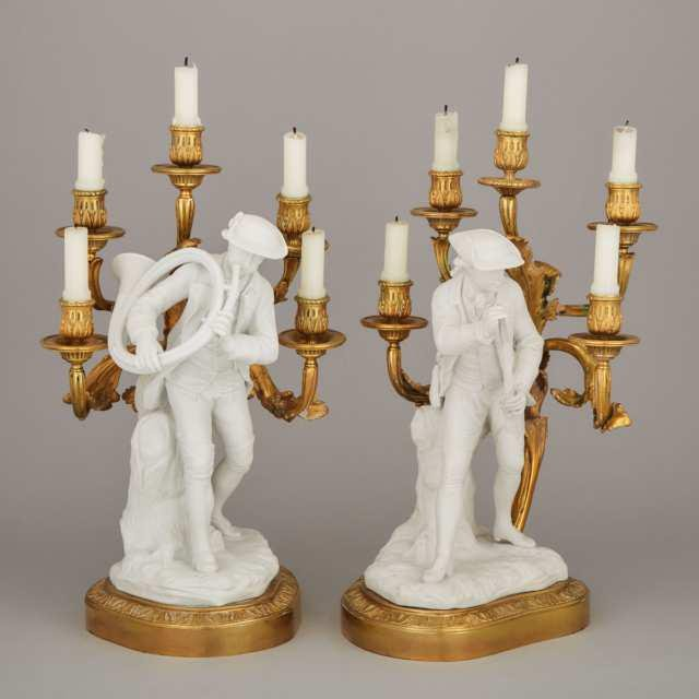 Pair of French Louis XV Style Ormolu and Parian Figural