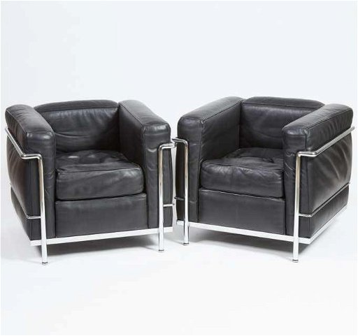Pair of Le Corbusier LC2 \'Poltrona\' Arm Chairs by