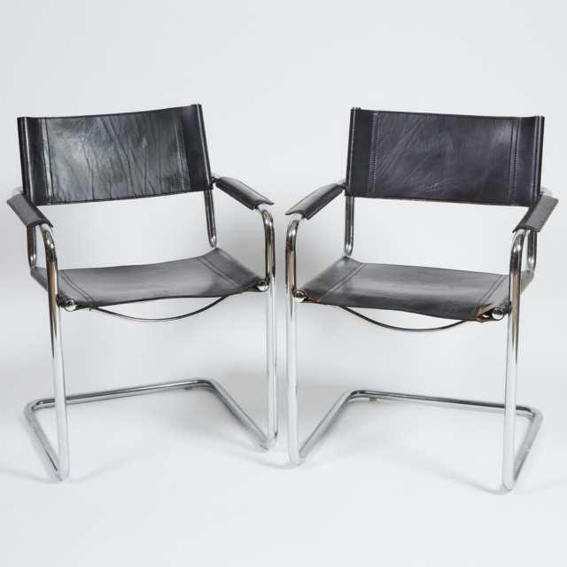 Pair of Contemporary Chrome and Leather Arm Chairs,