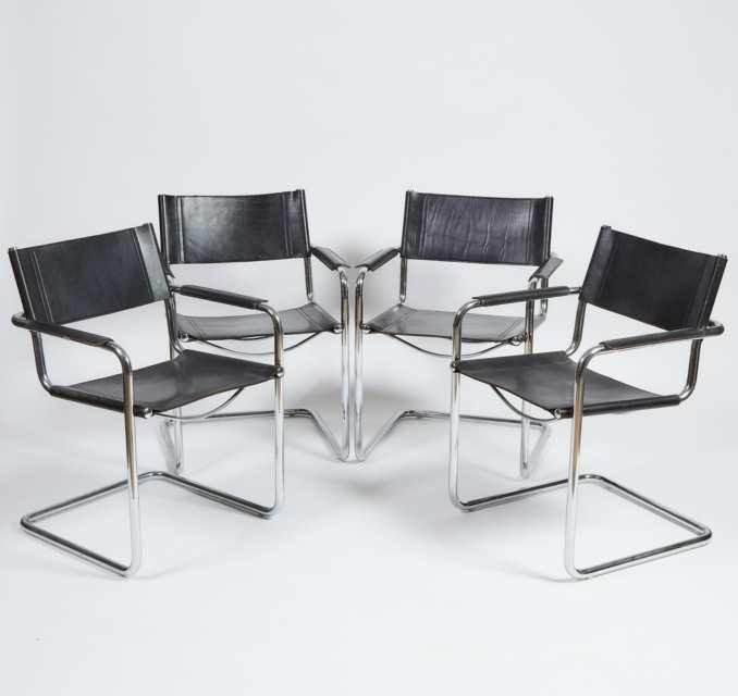 Set of Four Contemporary Chrome and Leather Arm Chairs,