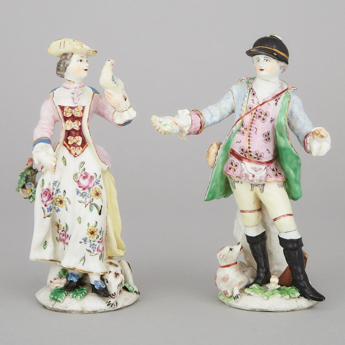 Pair of Bow Figures of a Huntsman and Lady Falconer,