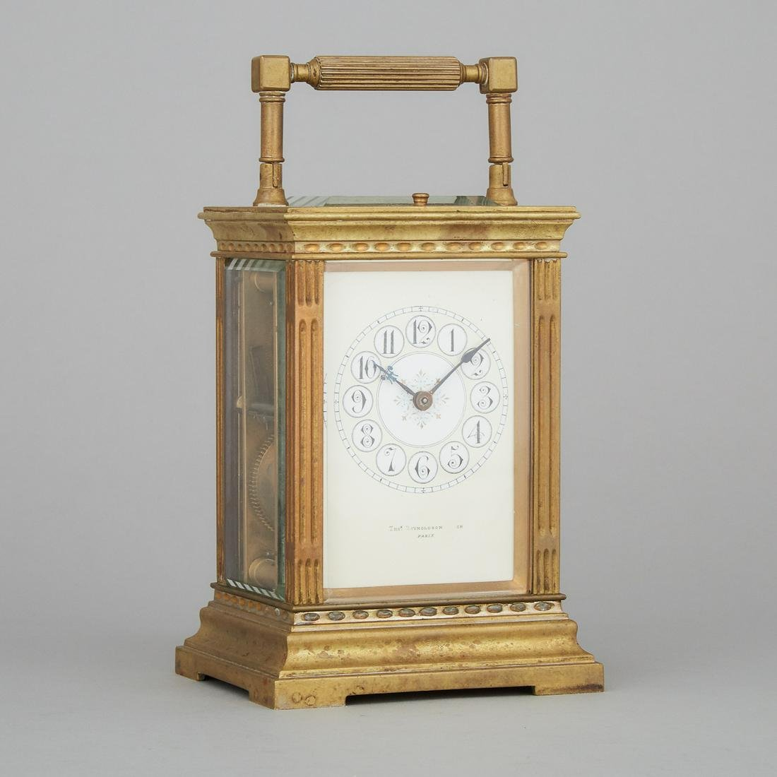 French Brass Repeating Carriage Clock, c.1900