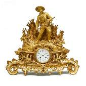 French Gilt Bronze Figural Mantel Clock Retailed by C