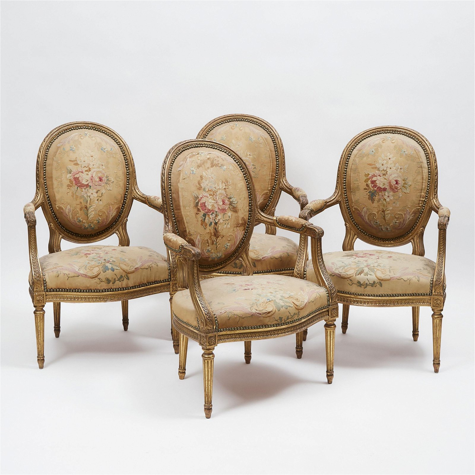 Set of Four Louis XVI Style Giltwood Fauteuils, 19th