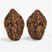 A Pair of 'Eighteen Luohans' Carved Walnuts, Qing