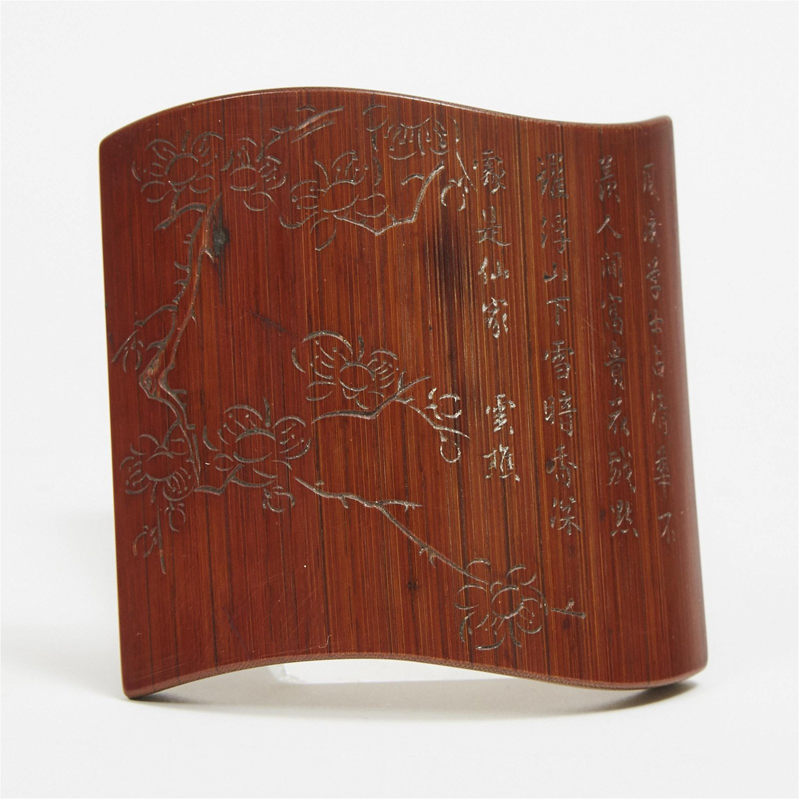 An Incised Bamboo Wrist Rest, Signed Dengwei