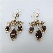 Pair Of 14k Yellow Gold Chandelier Drop Earrings