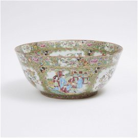 A Large Canton Famille Rose 'Figural' Punch Bowl, 19th