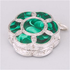Victorian Engraved Silver, Agate and Malachite Hexafoil