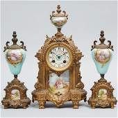 French Sevres Porcelain Mounted Gilt Metal Three