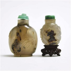 Two Well-Carved Agate Snuff Bottles, Qing Dynasty,