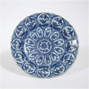 A Large Export Blue and White Lobed Charger, Kangxi