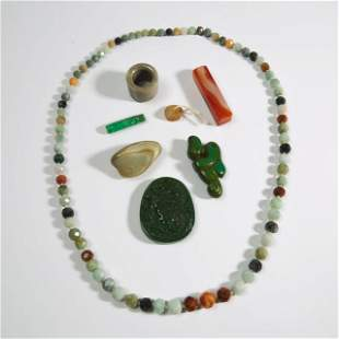 A Group of Eight Agate and Hardstone Carved Items