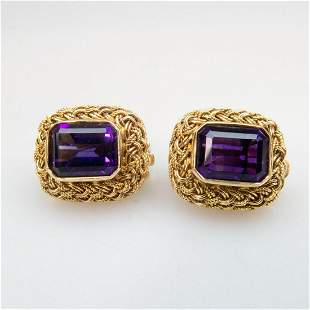 Pair Of 14k Yellow Gold Clip-Back Earrings, each