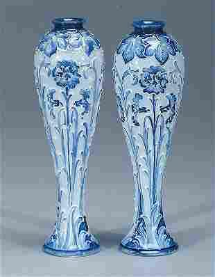 Moorcroft Pair Macintyre Florian Vases, c.1898-1900