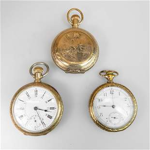 Three Pocket Watches In Gold-Filled Cases With Spurious