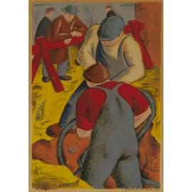 Frank Davidson (1912-1985), WORKMEN, 1941, Colour