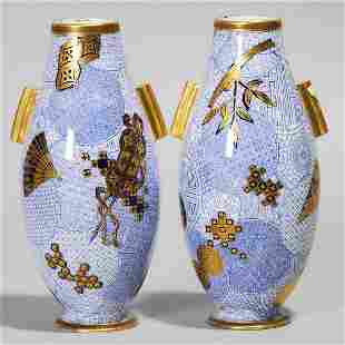 Pair of Royal Worcester Blue and Gilt Japanese-Style