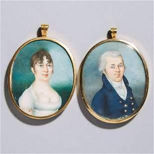 Pair of Swedish School Portrait Miniatures, c.1807,
