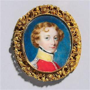 Continental School Portrait Miniature of a Young