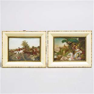 Pair of French Miniature Paintings, early 20th century,