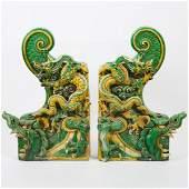 A Pair of Large Sancai-Glazed Dragon-Form Roof Tiles,
