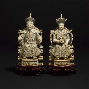 A Chinese Ivory Carved Emperor and Empress Pair, Early