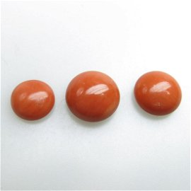112 Various Round Coral Cabochons, each with a single