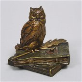 Austrian Cold Painted Bronze Animated Owl Form Servant