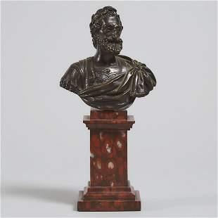 Italian Grand Tour Bronze Bust of a Roman Emperor, 19th