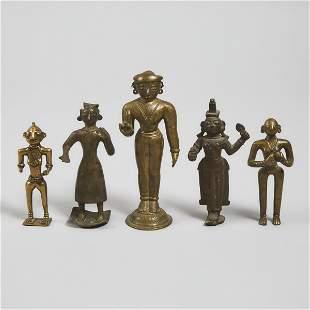 Group of Five Miniature Bronze Figures of Hindu