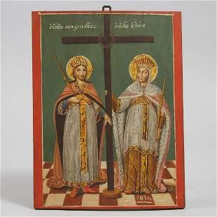 Greek Orthodox Icon of Saints Constantine and Helen,