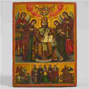 Greek Orthodox Icon of the Holy Family with Saints and