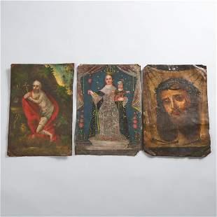 Three Mexican Retablos, 19th century, each 10 x 7 in