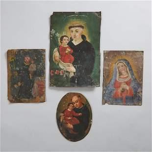Four Mexican Retablos, 19th century, largest 9.8 x 6.7